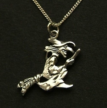 Picture of Witch and Broomstick Pendant - Sterling Silver