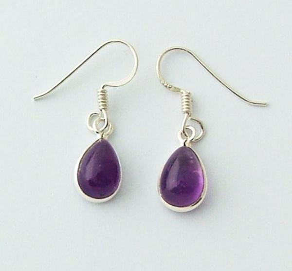 Picture of Amethyst Teardrop Earrings (Sterling Silver)
