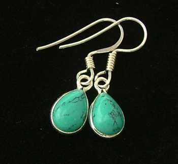 Picture of Turquoise Teardrop Earrings (Sterling Silver)