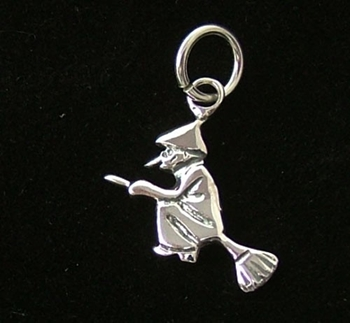 Picture of Flying Witch with Broomstick CharmPendant (Sterling Silver)