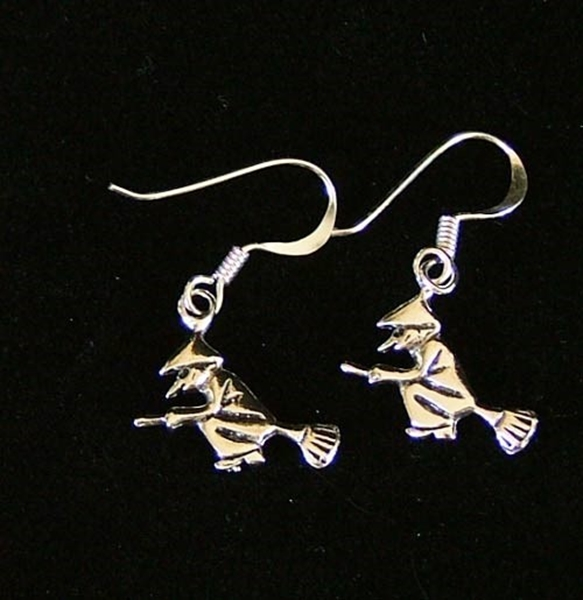 Picture of Witch On Broomstick Earrings (Sterling Silver)