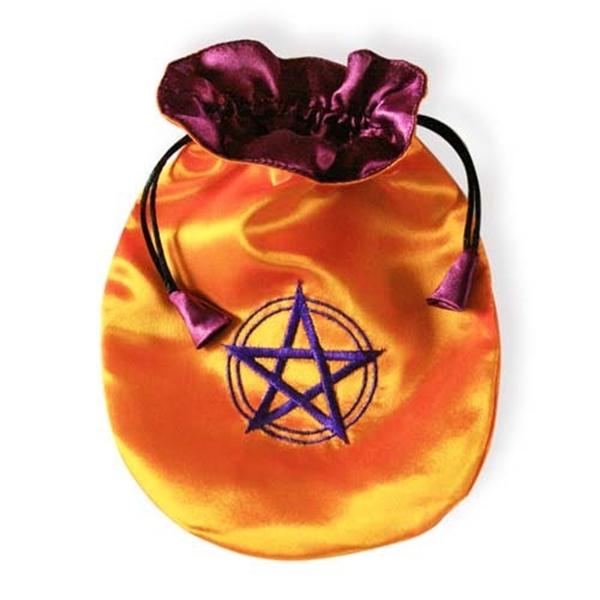 Picture of Tarot Bag - Pentagram in Circle (Saffron Satin)