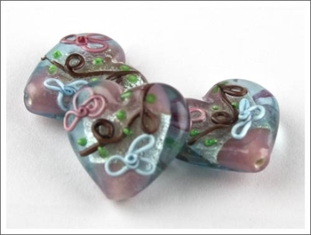 Picture of Lampwork Bead - Iced Heart (Pk 3)