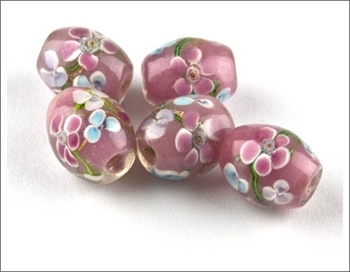 Picture of Oval Glass Bead - Flowers (Pink)  PK 5