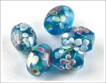 Picture of Oval Glass Bead - Flowers (Blue)  PK 5