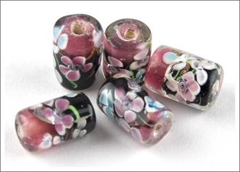 Picture of Tube Glass Bead - Flowers (PinkBlack)  PK 5
