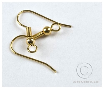 Picture of Fish Hook - Spring and Ball (Gold Plate) - 10 PAIRS