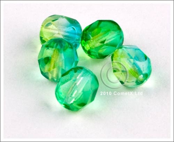 Picture of Bright GreenBlue Faceted Glass - 6mm (PK 50)