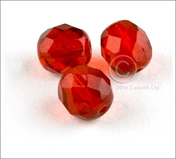 Picture of Red  Faceted Glass - 8mm (PK 25)