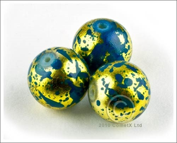 Picture of GoldBlue Graffiti Beads - 14mm (Pk 10)