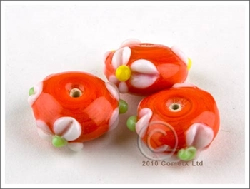 Picture of Flower Bead -  Red Lampwork (Pk 5)