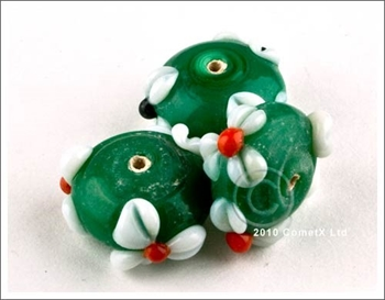 Picture of Flower Bead -  Green Lampwork (Pk 5)