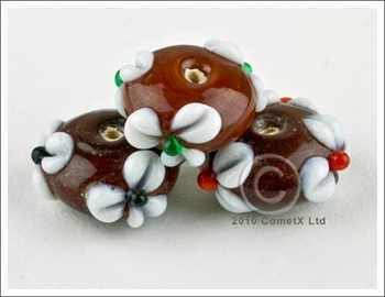 Picture of Flower Bead -  Brown Lampwork (Pk 5)