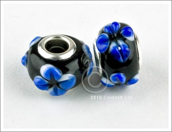 Picture of Pandora Style - BlackBlue Flowers (Pk 2)