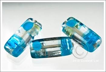 Picture of Dotty Flat Tube (Aqua) - Glass Foil (Pk 10)