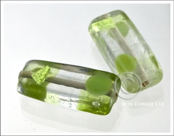 Picture of Dotty Flat Tube (Green) - Glass Foil (Pk 10)