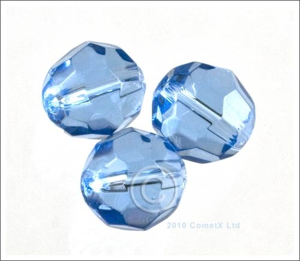 Picture of Round Faceted Glass (Light Blue) - 10mm (PK 10)