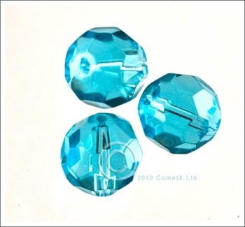 Picture of Round Faceted Glass (Aqua)- 10mm (PK 10)