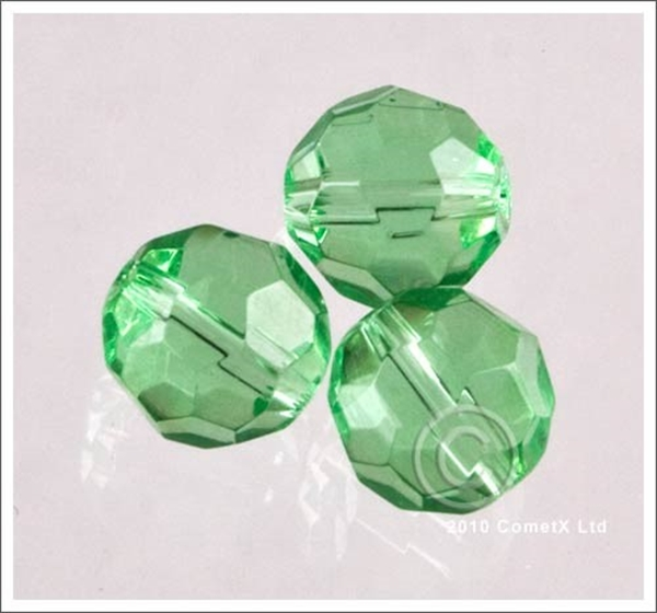 Picture of Round Faceted Glass (Light Green) - 10mm (PK 10)