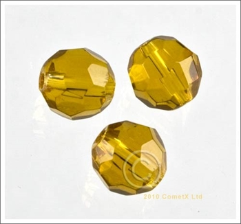 Picture of Round Faceted Glass (Amber) - 10mm (PK 10)