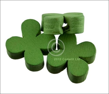 Picture of Flower Wood Bead (Green) - 13mm (Pk 25)