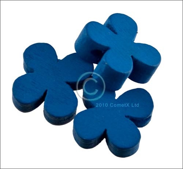 Picture of Flower Wood Bead (Blue) - 13mm (Pk 25)