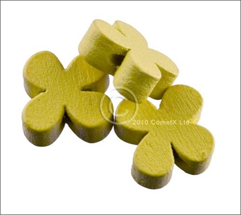 Picture of Flower Wood Bead (Yellow) - 13mm (Pk 25)