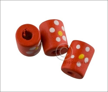 Picture of Tube Daisy Wood Beads (Red) - Pack 25