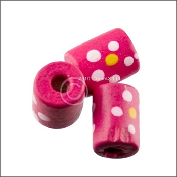 Picture of Tube Daisy Wood Beads (Cerise) - Pack 25