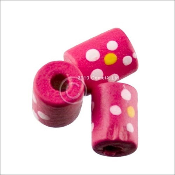 Picture of Tube Daisy Wood Beads (Pink) - Pack 25