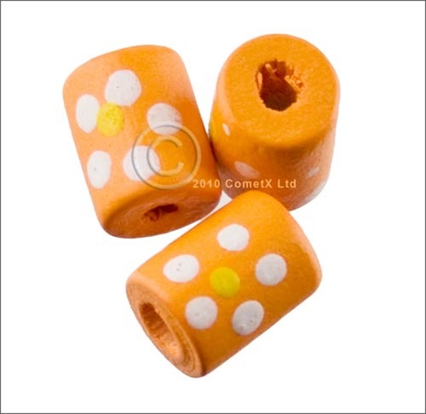 Picture of Tube Daisy Wood Beads (Orange) - Pack 25