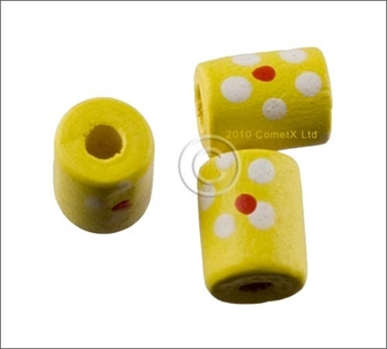 Picture of Tube Daisy Wood Beads (Yellow) - Pack 25