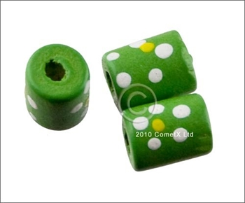 Picture of Tube Daisy Wood Beads (Green) - Pack 25