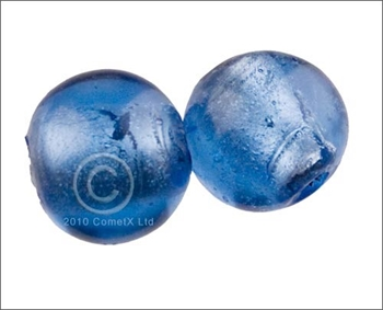 Picture of Round Glass Bead (Blue Foil) - 15mm (PK 10)