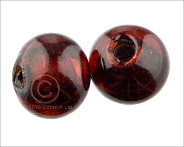 Picture of Round Glass Bead (Cherry Foil) - 15mm (PK 10)