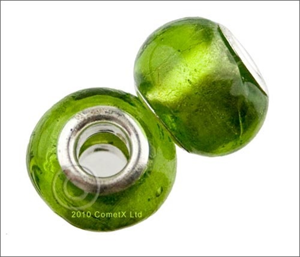 Picture of Pandora Style Bead - Green Foil (Pk 2)