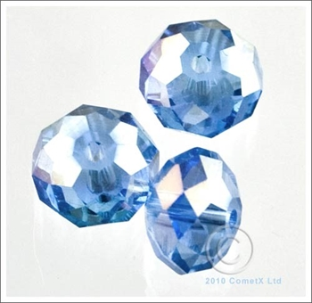 Picture of Rondelle Faceted Bead (Light Blue AB ) - 10mm