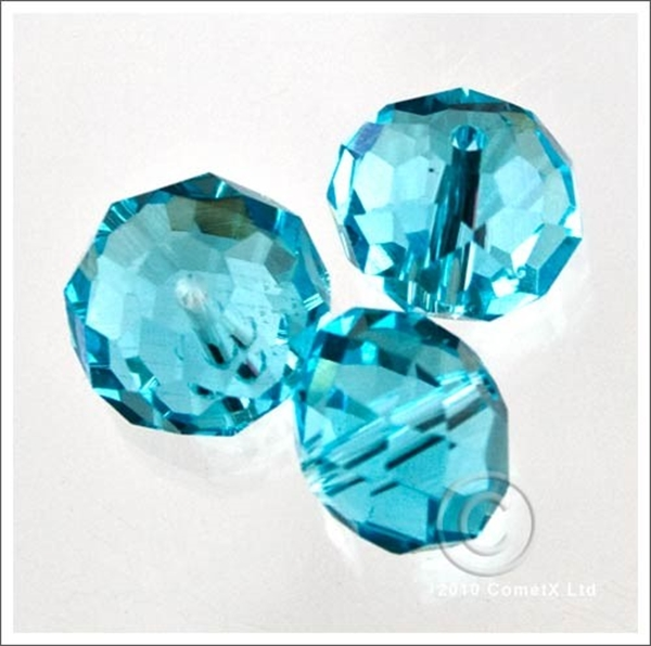 Picture of Rondelle Faceted Bead (Aqua) - 10mm