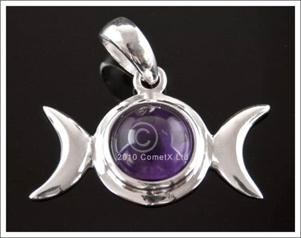 Picture of Triple Moon (Amethyst) - Sterling Silver with chain and box
