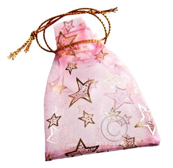 Picture of Organza Pouch (Gold Stars) - Pink (5.5 X 7cm)