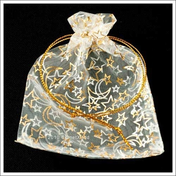 Picture of Organza Pouch - Gold Star and Moon (10x12cm)