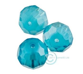 Picture of 12mm Faceted Glass - Peacock Blue (PK 10)