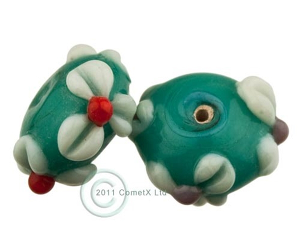 Picture of Flower Bead -  Sea Green Lampwork (Pk 5)