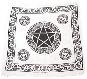 Picture of Celtic Pentacle Altar Cloth - White (24x24inch)
