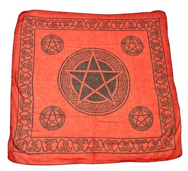 Picture of Celtic Pentacle Altar Cloth - Red (24x24inch)