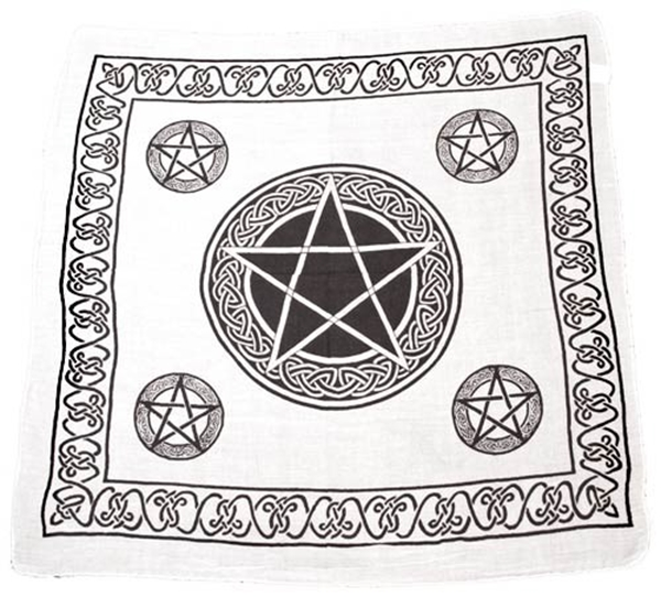 Picture of Celtic Pentacle Altar Cloth - White (36x36inch)