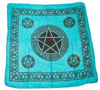 Picture of Celtic Pentacle Altar Cloth - Turquoise (36x36 inches)