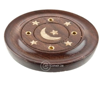 Picture of Round Incense Holder - Moon and Stars