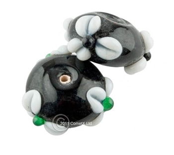 Picture of Flower Bead -  Black Lampwork (Pk 5)