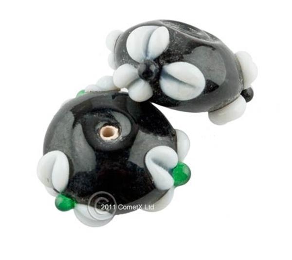 Picture of Flower Bead -  Black Lampwork (Pk 5)